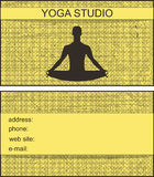 Business card with a picture of a man in the lotus position on a yellow background with stripes. Yoga studio Stock Image