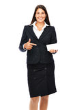 Business card pointing woman Stock Photography