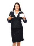 Business card pointing woman. Business woman pointing at business card.   Isolated on a white background Royalty Free Stock Photography