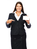 Business card pointing woman Royalty Free Stock Image