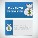 Business card print template with bank money bag logo Royalty Free Stock Images