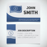 Business card print template with banknotes logo. Business card print template with cash logo. Easy edit. Businessman. Stationery design concept. Vector Royalty Free Stock Photos