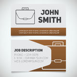 Business card print template with briefcase logo Royalty Free Stock Image