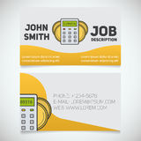 Business card print template with calculator and coins logo Royalty Free Stock Images