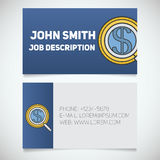 Business card print template with investors search logo Stock Photo