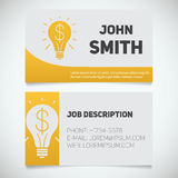 Business card print template with light bulb and dollar logo. Easy edit. Creative director. Startup manager. Stationery design concept. Vector illustration Royalty Free Stock Photography