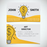 Business card print template with light bulb and dollar logo. Easy edit. Creative director. Startup manager. Stationery design concept. Vector illustration Stock Images