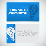 Business card print template with light bulb and dollar logo. Easy edit. Creative director. Startup manager. Stationery design concept. Vector illustration Royalty Free Stock Photo