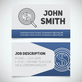 Business card print template with money search logo Stock Image