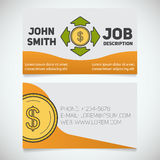 Business card print template with money spending logo Royalty Free Stock Photography