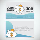 Business card print template with piggy bank logo. Easy edit. Banker. Economist. Stationery design concept. Vector illustration Stock Photos
