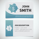 Business card print template with piggy bank logo Stock Photo