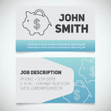 Business card print template with piggy bank logo. Easy edit. Banker. Investor. Economist. Stationery design concept. Vector illustration Stock Photography