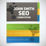 Business card print template with sales funnel logo Stock Image