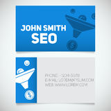 Business card print template with sales funnel logo. Marketer. Stockbroker. Jobber. Seo Stock Images