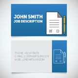 Business card print template with signed contract and pen logo Royalty Free Stock Image