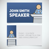 Business card print template with speaker logo. Orator Royalty Free Stock Photos
