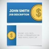 Business card print template with US dollar coin logo. Business card print template with dollar coin logo. Easy edit. Accountant. Bank worker. Stationary design Stock Images