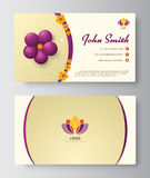 Business card with purple floral template design. vector illustr Stock Photos
