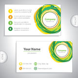 Business card - recycling mix - ecological variation - yellow-gr Stock Photo