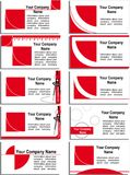 Business card with a red graphic elements Royalty Free Stock Images