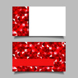 Business card with red mosaic pattern. Vector EPS-10. Vector business card with red geometric patterns Stock Photography