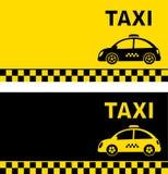 Business card and retro taxi car Stock Photos