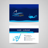Business card of Scuba Diving and shark blue vector design Royalty Free Stock Images