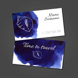 Business card with seashell on watercolor stain Royalty Free Stock Photos