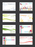Business card set. Set of eight business cards Royalty Free Stock Photo