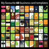 Business Card Set. Set of 60 Colorful Business Cards in Editable Vector Format Stock Photos