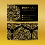 Business card set golden mandala decorative elements. Vintage decorative elements. Islam, Arabic, Indian, moroccan,spain, turkish,. Business card set golden Stock Photography