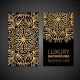 Business card set golden mandala decorative elements. Vintage decorative elements. Islam, Arabic, Indian, moroccan,spain. Motifs Stock Photography
