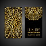 Business card set golden mandala decorative elements. Vintage decorative elements. Islam, Arabic, Indian, moroccan,spain, turkish,. Business card set golden royalty free illustration