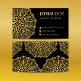 Business card set golden mandala decorative elements. Vintage decorative elements. Islam, Arabic, Indian, moroccan,spain, turkish,. Business card set golden vector illustration