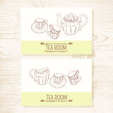 Business card set with hand drawn tea service Stock Photo