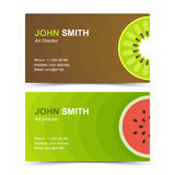 Business card set kiwi watermelon Stock Photo