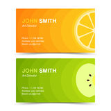 Business card set lemon apple Stock Photos