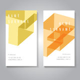 Business Card Set. Modern Business Card Set with trendy geometric pattern, letters T and F, EPS10 Vector Design Stock Photos