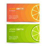 Business card set orange lime Stock Photo