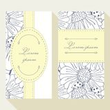 Business card set with outline ladybug and daisy Stock Images