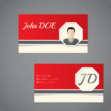 Business card set with photo and monogram Stock Photos