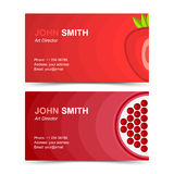 Business card set strawberries garnet Royalty Free Stock Photo