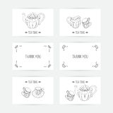 Business card set with tea service icons. Doodle Royalty Free Stock Image