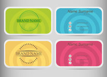 Business card set  template.  Flat design. Colored spirals. Royalty Free Stock Image