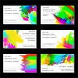 Business card set. Vector business card set with bright colored blots Royalty Free Stock Images