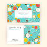 Business Card with Sewing Buttons Royalty Free Stock Photo