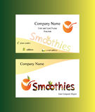 Business card with smoothies logo. Text and abstract glass with juice from a squeezed piece of orange Stock Image
