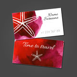 Business card with starfish on watercolor stain Stock Photo