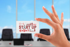 Business card with start up concept. In hand a woman Stock Photo